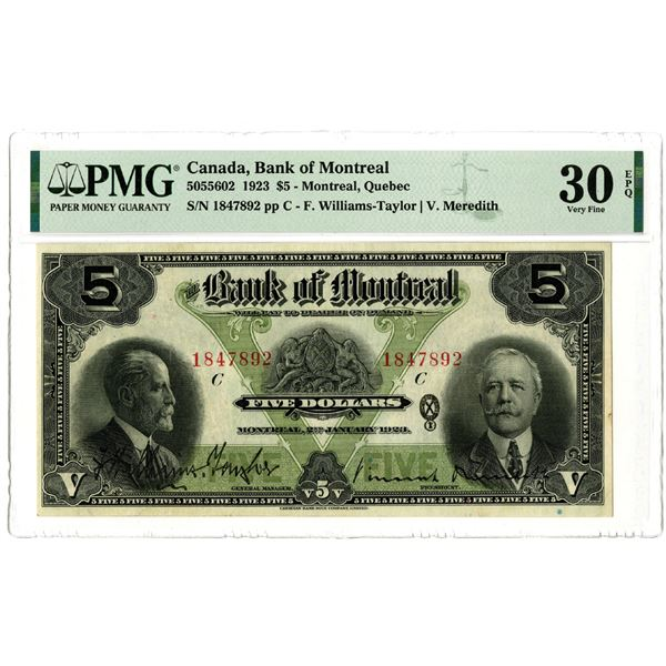 Bank of Montreal, 1923 Issued Banknote