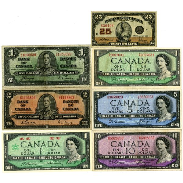 Canadian Banknote Assortment, ca.1923 to 1960's