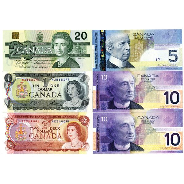Bank of Canada Group of 6 Assorted Banknotes