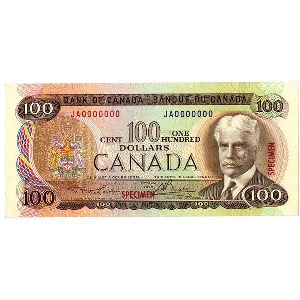 Bank of Canada, 1975 Specimen Banknote.