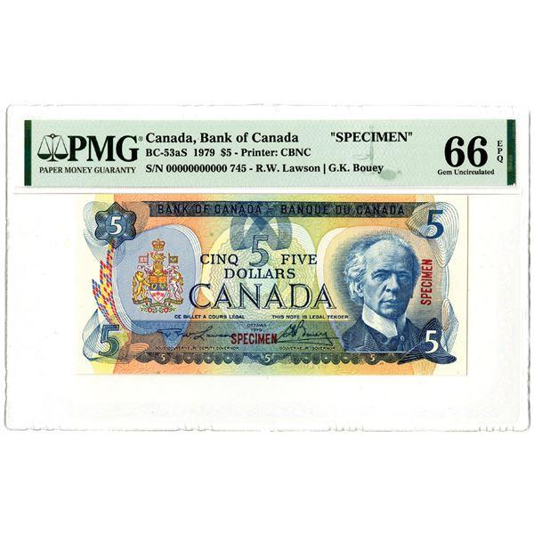 Bank of Canada, 1979 Specimen Banknote.