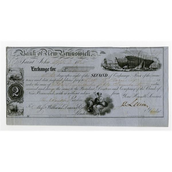 Bank of New Brunswick, 1860 Issued Second Exchange