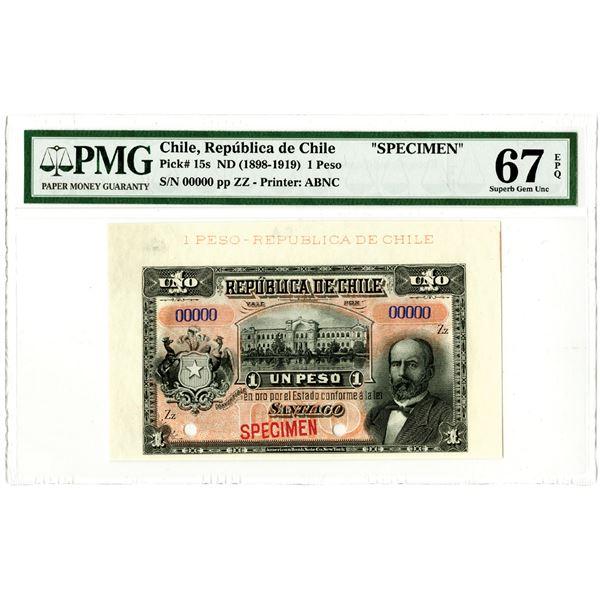 Republica de Chile. ND (1898-1919). Specimen Banknote.