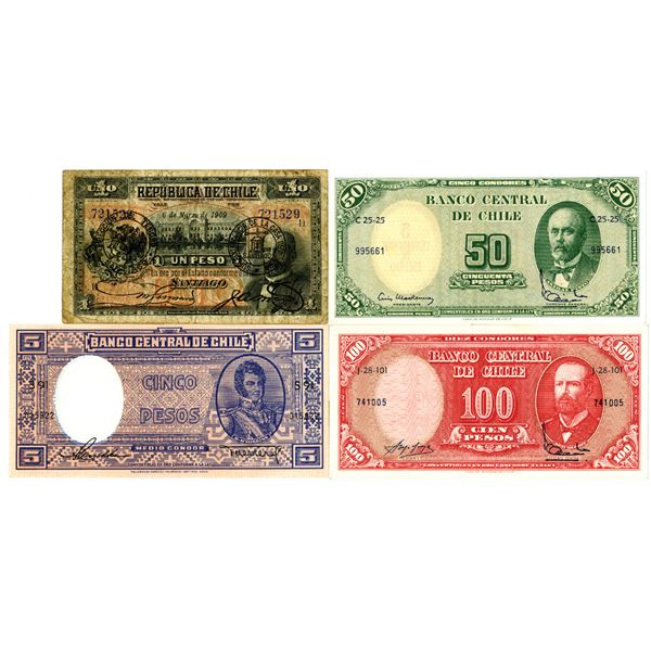 Chile Banknote Quartet, ca.1900-60s