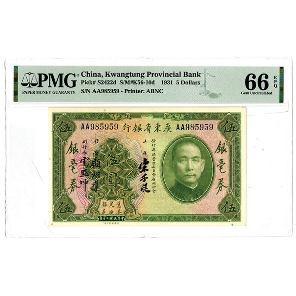 Kwangtung Provincial Bank, 1931 Issued Banknote