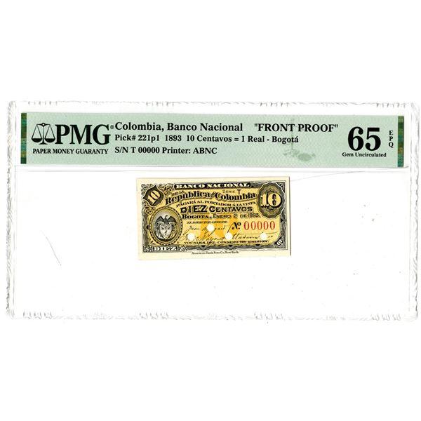 Banco Nacional de la Republica de Colombia, 1893 Front Proof Banknote