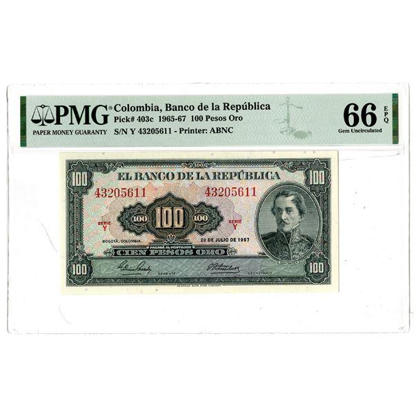 """Banco de la Republica, 1967 """"Top Pop"""" Issued Banknote"""