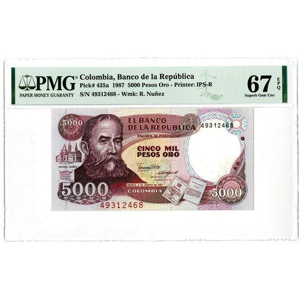 """Banco de la Republica. 1987. """"Top Pop"""" Issued Banknote."""