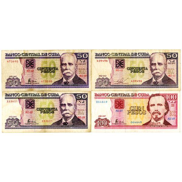 Banco Central de Cuba Issued Banknote Quartet, ca. 2007-2012