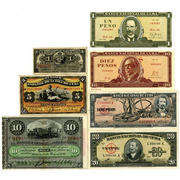 Cuba Banknote Group of 11, ca.1896-2004