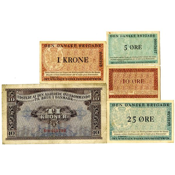 Denmark Military Issued Banknote Quintet, World War II & Post Liberation
