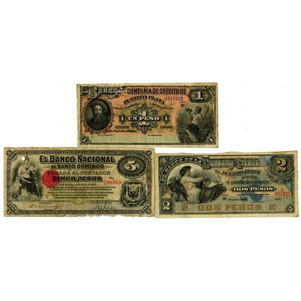 Compa–ia de CrŽdito de Puerto Plata & Banco Nacional de Santo Domingo. ND (1880-1889). Lot of 3 Issu