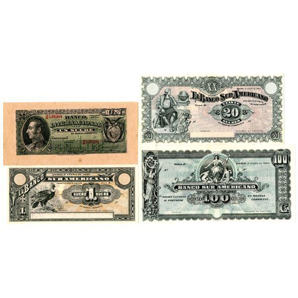 Quartet of Assorted Issued Ecuador Banknotes, ca. 1880s-1920s