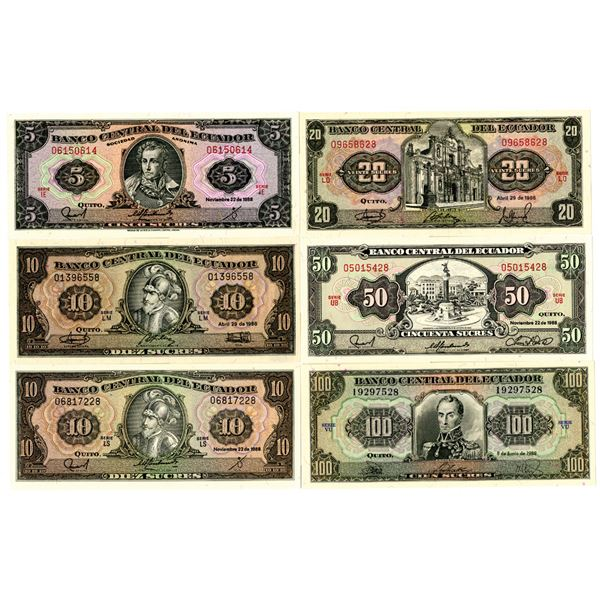 Banco Central del Ecuador Group of 6 Banknotes, 1986 and 1988 Issues