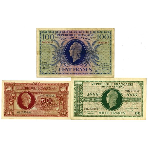 Tresor Central. ND (1944). Lot of 3 Issued Notes.