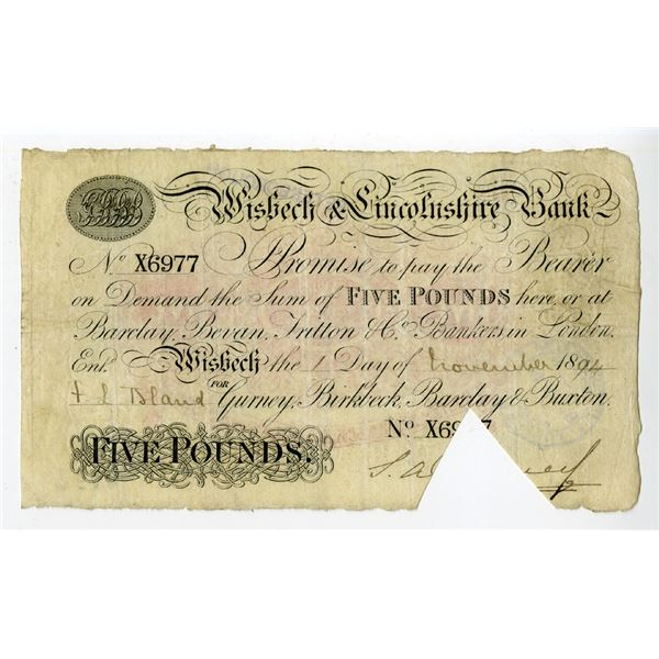 Wisbech & Lincolnshire Bank, 1894 Private Banknote.