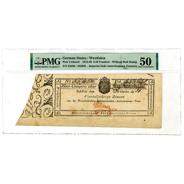 German States - Westfalen, Imperial Debt Amortizations Treasury, 1820 Issue Banknote.