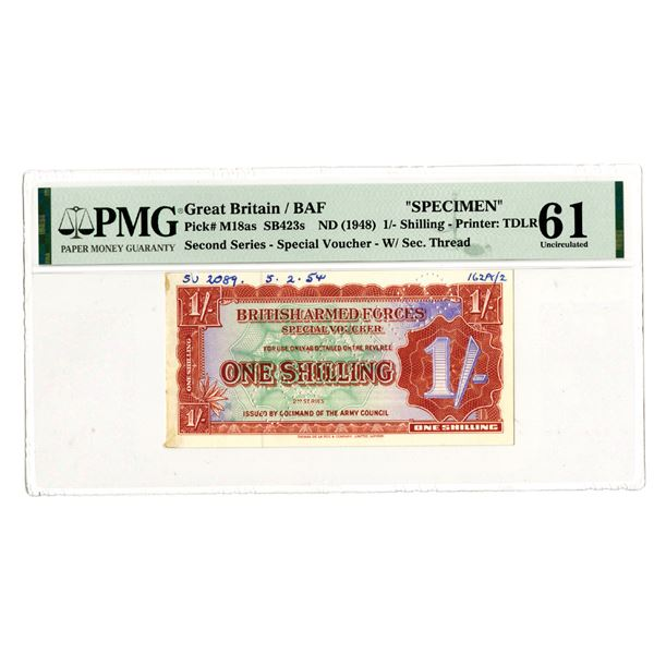 British Armed Forces Special Voucher. 2nd Series, ND (1954). Specimen Banknote.