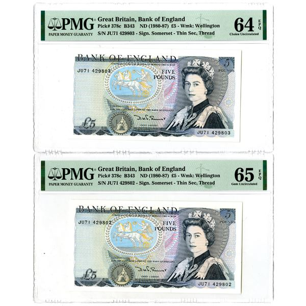Bank of England. ND (1980-1987). Lot of 2 Sequential Issued Notes.