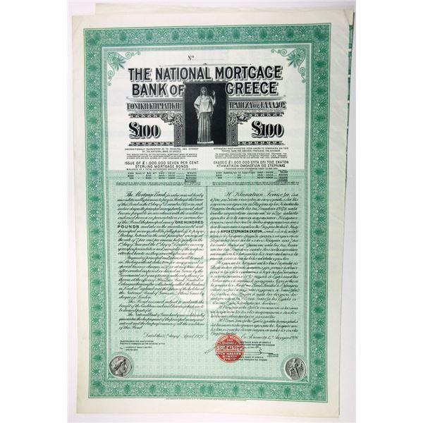National Mortgage Bank of Greece, 1928 Specimen Bond