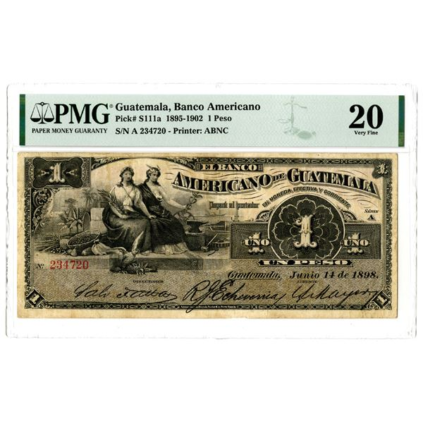Banco Americano de Guatemala, 1895-1902 Issued Banknote