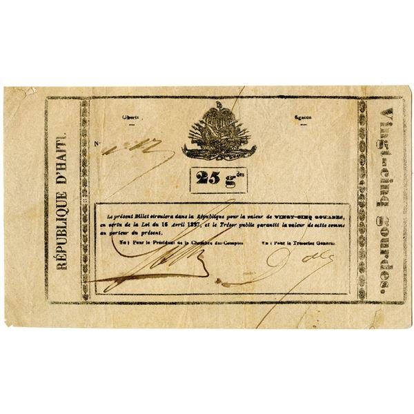 Republique d'Haiti, Billets de Caisse, 1827 Issued Banknote