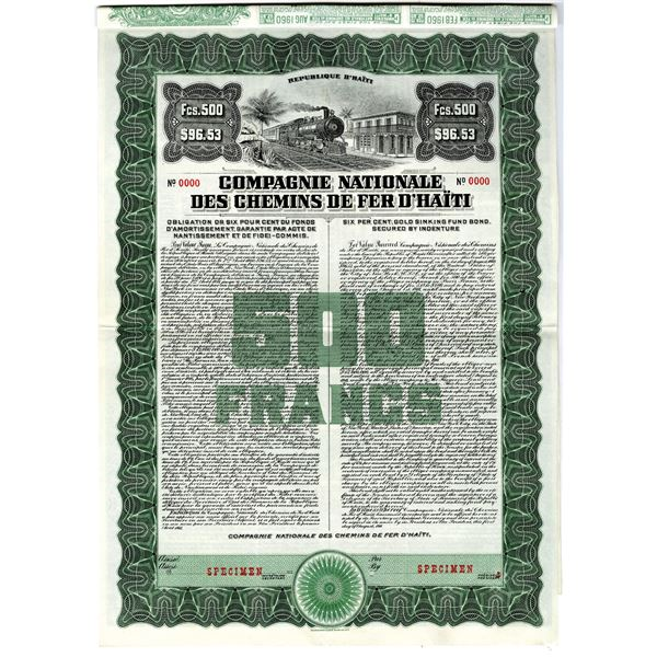 Compagnie Nationale des Chemins de Fer d'Haiti 1911 Specimen Bond