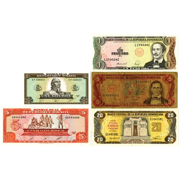 Haitian and Dominican Republic Banknote Quintet
