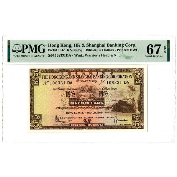Hongkong & Shanghai Banking Corp., 1964-69 Issued Banknote