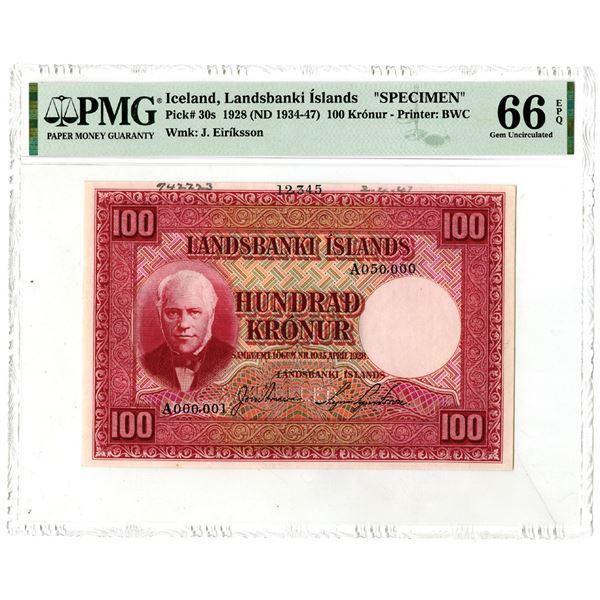 Landsbanki êslands. 1928 (ND 1934-1947).  Top Pop  Specimen Note.