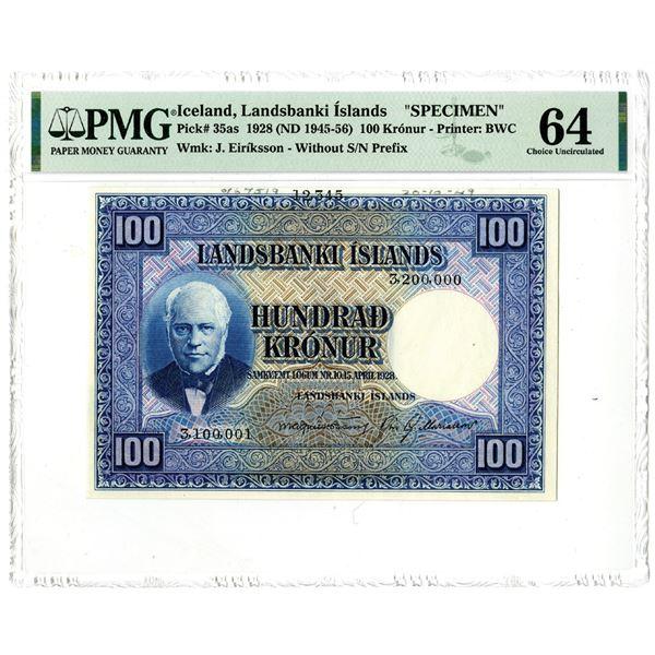 Landsbanki êslands. 1928 (ND 1945-1956). Specimen Note.