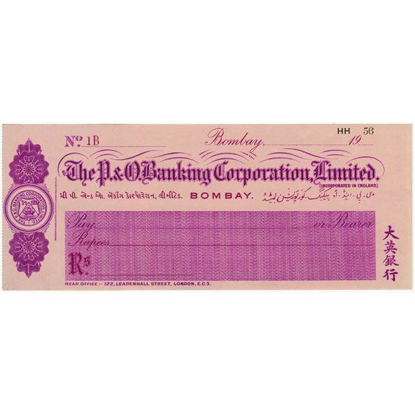 P.&O. Banking Corporation, Ltd., 1920 Waterlow & Sons Specimen Check.