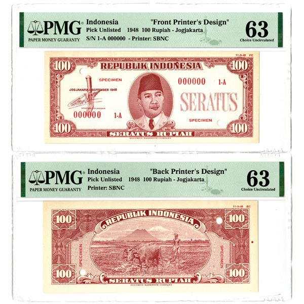 Republik Indonesia. 1948 100 Rupiah Uniface Essay Front and Back