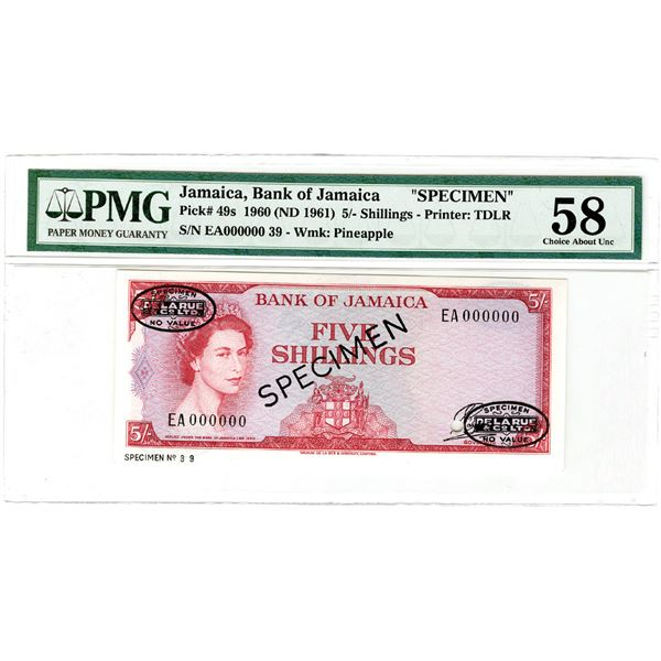 Bank of Jamaica. 1960 (ND 1961). Specimen Banknote.
