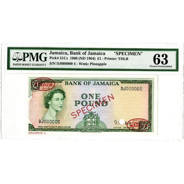 Bank of Jamaica. 1960 (ND 1964). Specimen Banknote.