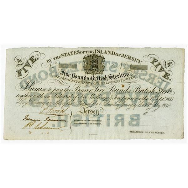 States of the Island of Jersey, British Administration, 1840 Partially Issued Interest Bearing Note.