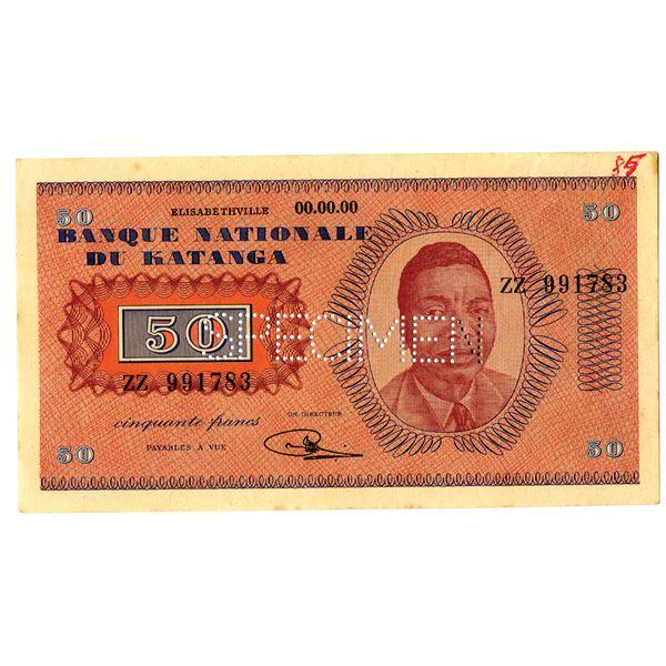 Banque Nationale du Katanga, 1960 Specimen Banknote