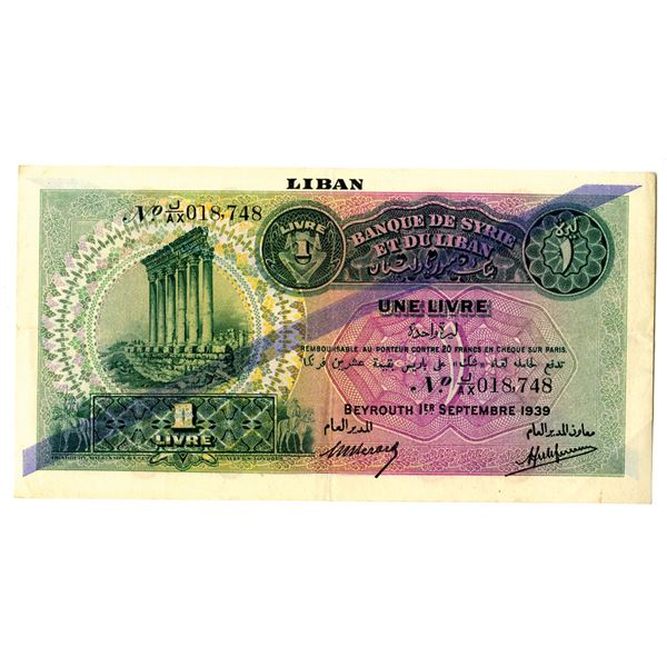 Banque de Syrie et du Liban. 1939 Issue Banknote.