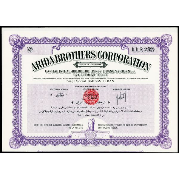 Arida Brothers Corp., 1935 Specimen Bond.