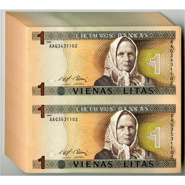 Lietuvos Bankas - Bank of Lithuania, 1994 Group of 100 Uncut Pairs (200 Notes)