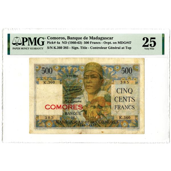 Banque de Madagascar, ND (1960-63) Issued Banknote
