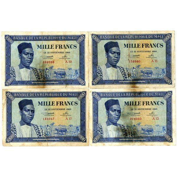 Banque de la Republique due Mali, 1960 (1962) Issued Banknote Quartet
