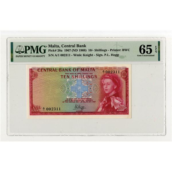 Central Bank of Malta. 1967 (ND 1968) Issue Banknote.