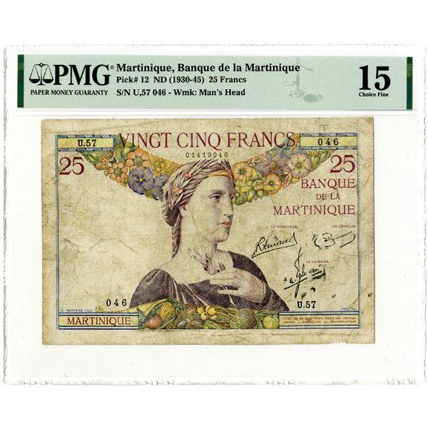 Banque de la Martinique, ND (1930-45) Issued Banknote