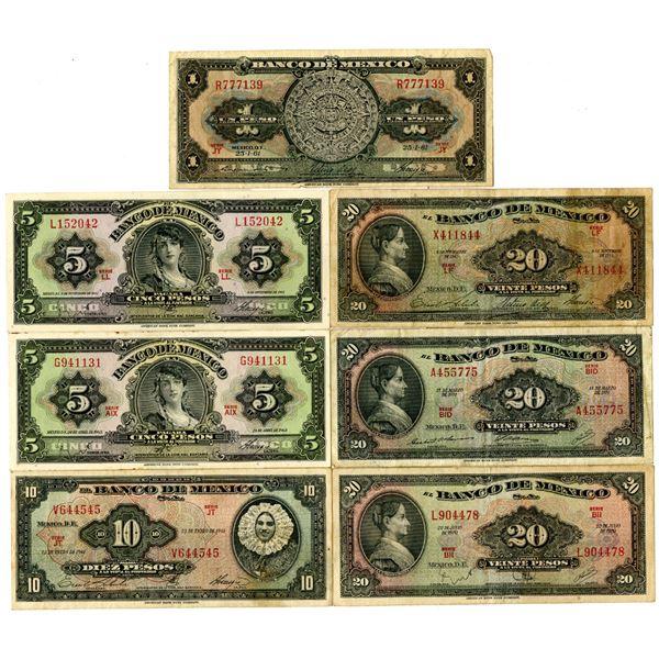 El Banco de Mexico Group of 21 Assorted Banknotes