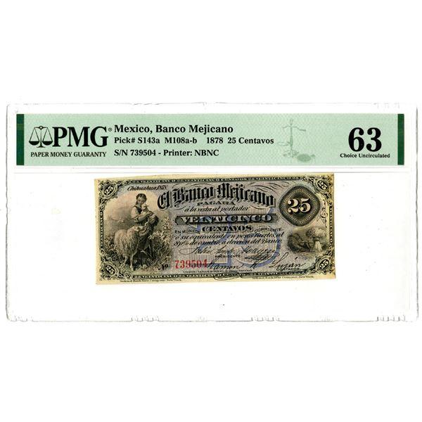 Banco Mejicano. 1878 High Grade Issued Banknote.