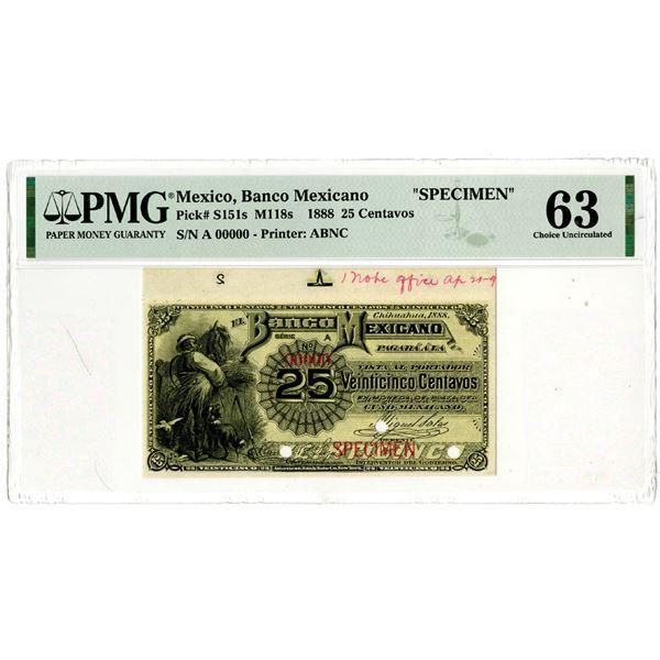 Banco Mexicano, 1888 Specimen Banknote