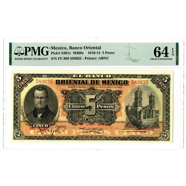 Banco Oriental de Mexico, 1910-14 Issued Banknote