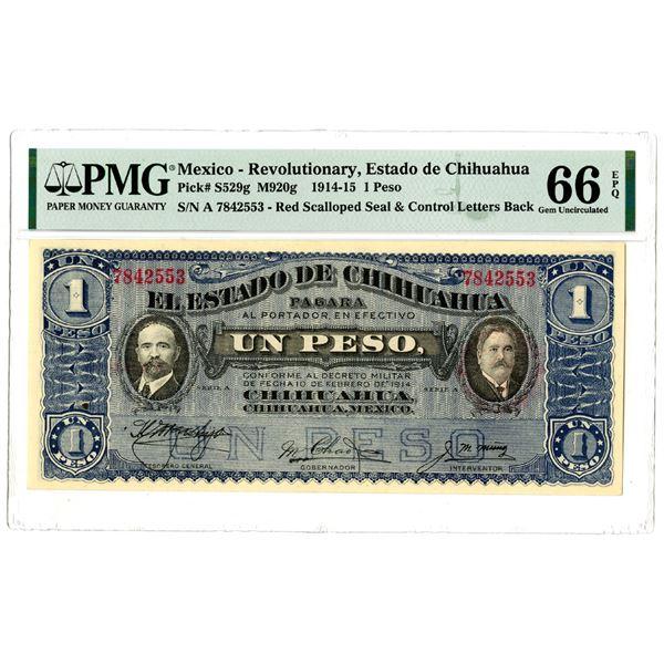 """Estado de Chihuahua, 1914 """"Top Pop"""" Issued Banknote"""
