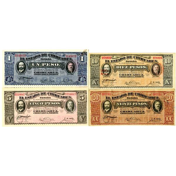 El Estado de Chihuahua, 1915 Issue Banknote Quartet